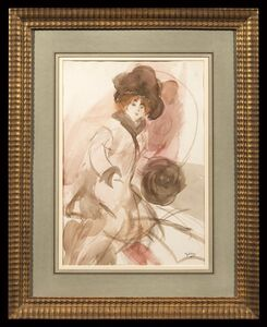 Giovanni Boldini, 'Sketch of a woman with hat'