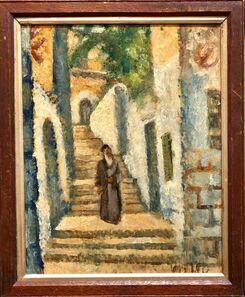 Arieh Allweil, 'Rabbi in Jerusalem Modernist Israeli Judaica Oil Painting', 20th Century