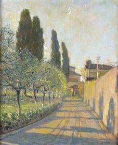 Galileo Chini, 'A narrow street near Florence (Varlungo)', 1930