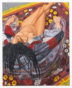 Philip Pearlstein, 'Model with Kimono on Clear Plastic Chair with Floral Rug', 2011