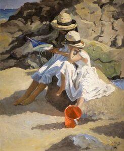 Sherree Valentine Daines, 'Seaside Frolics, impressionist figurative beach scene.'