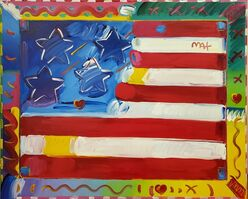 Peter Max, 'Flag with Heart', 2014