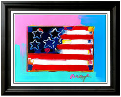 Peter Max, 'Peter Max Original Mixed Media Painting Flag With Heart Acrylic Signed Pop Art', 20th Century