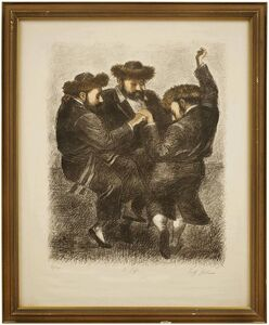 "Tully Filmus, 'Hasidic Dance ""To Life"" L'Chaim Judaica Lithograph', 20th Century"