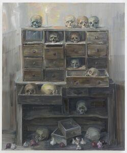 Yan Pei-Ming, 'Installation, treize crânes et une bougie', 2020