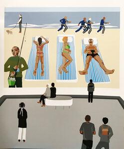t.w.five, 'Beach Scene, Video Projection (Museum Goers Series) ', 2018