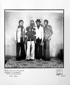 """Ambroise Ngaimoko, 'Photo souvenir des jeunes habillés en pantalon """"Pattes d'éléphant"""".', 1973"""