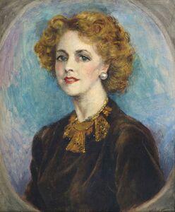 Neville Stephen Lytton, 'Portrait of a lady, half-length, in a brown dress'