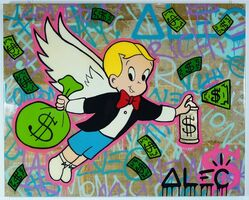 Alec Monopoly, 'Richie wings $ bag spraying gold can', 2019