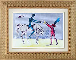 "Salvador Dalí, '""Don Quixote: The Gift of Mandrino"" Hand Signed Salvador Dali Lithograph ', 1941-1957"