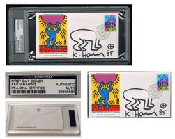 "Keith Haring, '""International Youth Day-United Nations"" WFUNA, 1985, SIGNED, United Nations Envelope w/ BABY DRAWING, First Day of Issue World Federation of United Nations Association, Authenticated, UNIQUE', 1985"