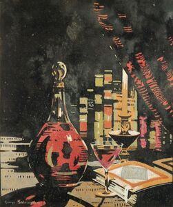 George Sheringham, 'Still Life of Claret, glass and books'