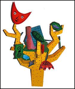 Rodney Alan Greenblat, 'RODNEY GREENBLAT Large ORIGINAL WOOD SCULPTURE Acrylic Painting Signed Pop Art', 21st Century