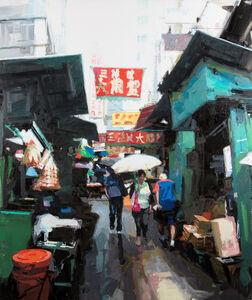 James Hart Dyke, 'Street scene, green and red, Hong Kong', 2013