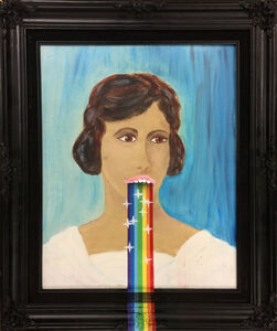 The Most Famous Artist, 'Rainbow Vomit Snapchat Filter on Woman's Portrait Purchased at Rob Pruitt's DesertX Flea Market Inside The Palm Springs Art Museum', 2017