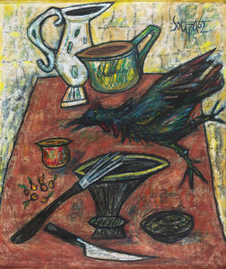 Francis Newton Souza, 'Untitled (A Still Life of Kitchen Implements and a Rooster on a Table)', 1962