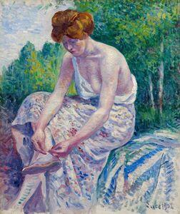 Maximilien Luce, 'Moulineux, jeune femme ôtant sa sandale', 1904