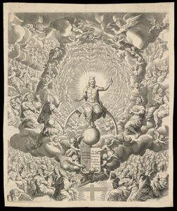 Pieter de Jode I, 'Iudic˜ uniuersalis paradigma Sacrae Scripturae testimonijs confirmatum : Christ', 1726-1738