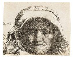 Rembrandt van Rijn, 'The artist's mother: head only, full face', 1628