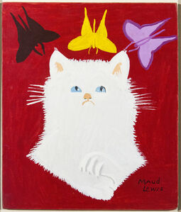 Maud Lewis, 'Portrait of White Cat & Framed Envelope', 1967