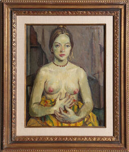 Moses Soyer, 'Seated Nude Posing', ca. 1950