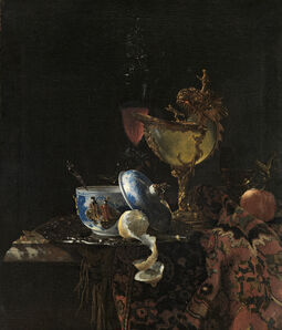 Willem Kalf, 'Still Life with a Chinese bowl, a Nautilus Cup and Fruit', 1662