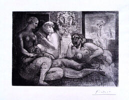 Pablo Picasso, 'Four Nude Women and a Sculpted Head (Vollard Suite pl. 82)', 1934