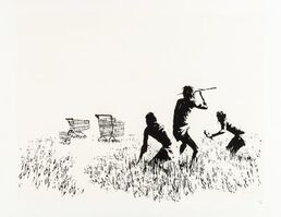 Banksy, 'Trolley Hunters (Black and White)', 2007