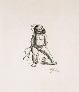 Heinrich Zille, 'Mädchen mit Haarschleife – Sitzender Mädchenakt', 1924