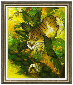 Gustavo Novoa, 'Gustavo Novoa Oil Painting on Board Large Original Animal Tiger Signed Artwork', 1974