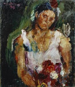 Anton Kolig, 'The Artist's Wife with Flowers', 1913