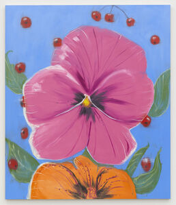 Ann Craven, 'Pensée (Big Pink, Orange, on Blue with Cherries), 2020', 2020