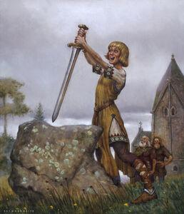 Don Maitz, 'Arthur Pulls Sword', 1996