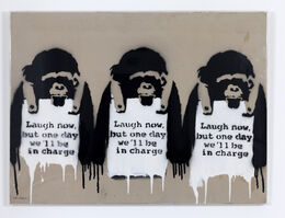 Banksy, 'Laugh Now (Triptych) (Work on card)', 2002