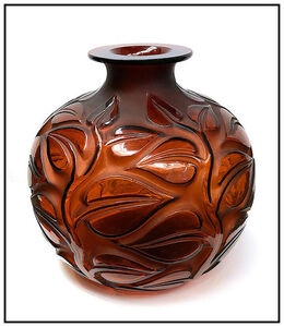 René Lalique, 'Rene Lalique Rare Large Sophora Glass Vase Hand Signed Red Amber Crystal Antique', Early 20th Century