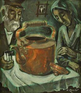 Galina Rozin, 'Old Couple with Samovar, Oil Painting', 20th Century