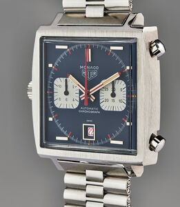 Heuer, 'An extraordinary and unique stainless steel 50th anniversary chronograph wristwatch with bracelet, guarantee, unique presentation box, original drawing, and accessories, sold to benefit charity', 1969