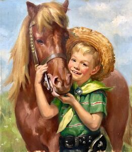 Ariane Beigneux, 'Original Vintage Illustration Boy with Horse Oil Painting Americana', Mid-20th Century