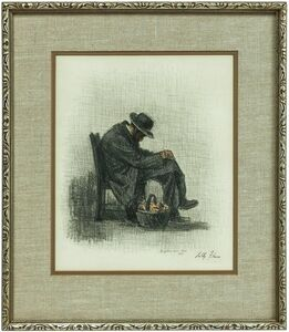 Tully Filmus, 'The Bagel Seller, Jewish Man Sleeping, Judaica Pastel Drawing', 1970-1979