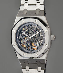 Audemars Piguet, 'A very fine and rare stainless steel skeletonized wristwatch with original guarantee, presentation box, and accessories', 2012