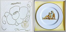 Jeff Koons, Original (unique) hand signed flower drawing on presentation box with Limited Edition porcelain plate inside: Banality Series (Service Plate), Michael Jackson and Bubbles)