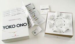 Yoko Ono, Suite of Seven (7) Unbroken Teacups and Saucers