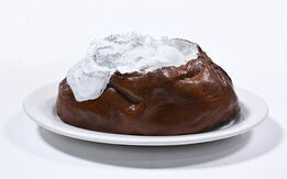 Claes Oldenburg, Claes Oldenburg, Baked Potato, cast resin, acrylic, Shenango china dish, initialed in ink, 1966