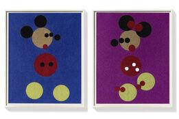 Damien Hirst, Minnie (Pink Glitter) & Mickey (Blue Glitter) Large