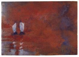 Emil Nolde, Aquarell mit zwei Seglern (Schwüler Abend)