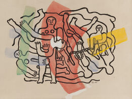 Fernand Léger, Les six plongeurs, composition en largeur