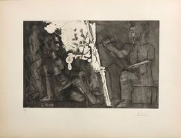 Pablo Picasso, 'Peintre à son chevalet, avec un modèle assis ', 1965