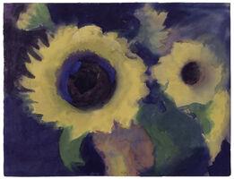 Emil Nolde, Sonnenblumen auf blauem Grund