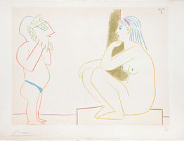 Pablo Picasso, '(Artist and Model Sitting.) Untitled from Suite de 15 dessins de Picasso. ', 1954