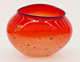 Dale Chihuly, Large Basket Red with Blue Lip